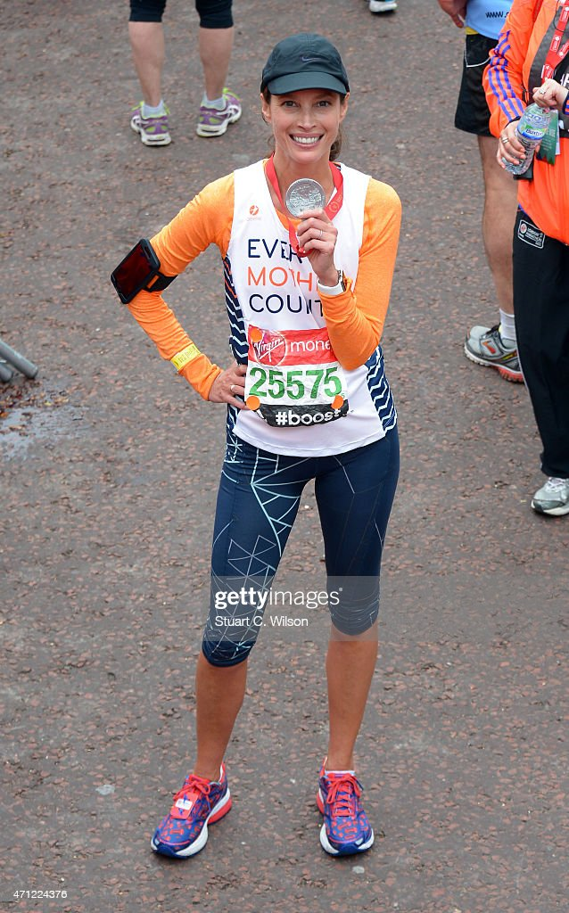 Christy Turlington crossed the finish line during the Celebrity finish at The London Marathon 2015 on April 26, 2015 in London, England.