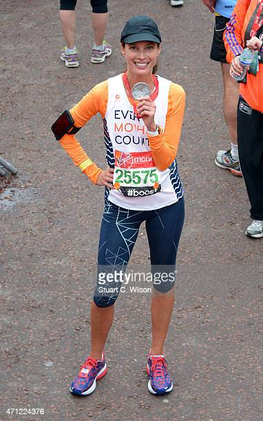 Christy Turlington crossed the finish line during the Celebrity finish at The London Marathon 2015 on April 26 2015 in London England