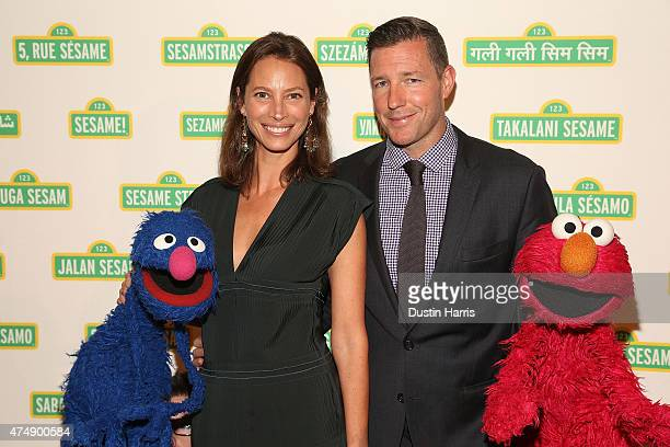 Christy Turlington Edward Burns and Sesame Street Muppets Grover and Elmo attend the Sesame Workshop's 13th Annual Benefit Gala at Cipriani 42nd...