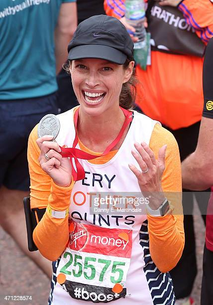 Christy Turlington is seen finishing the London Marathon on April 26 2015 in London England