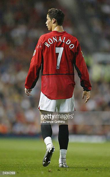 Chritiano Ronaldo of Manchester United looks over at the bench during the FA Barclaycard Premiership match between Manchester United and...