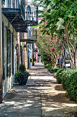 Charleston Street and sidewalk with balconies