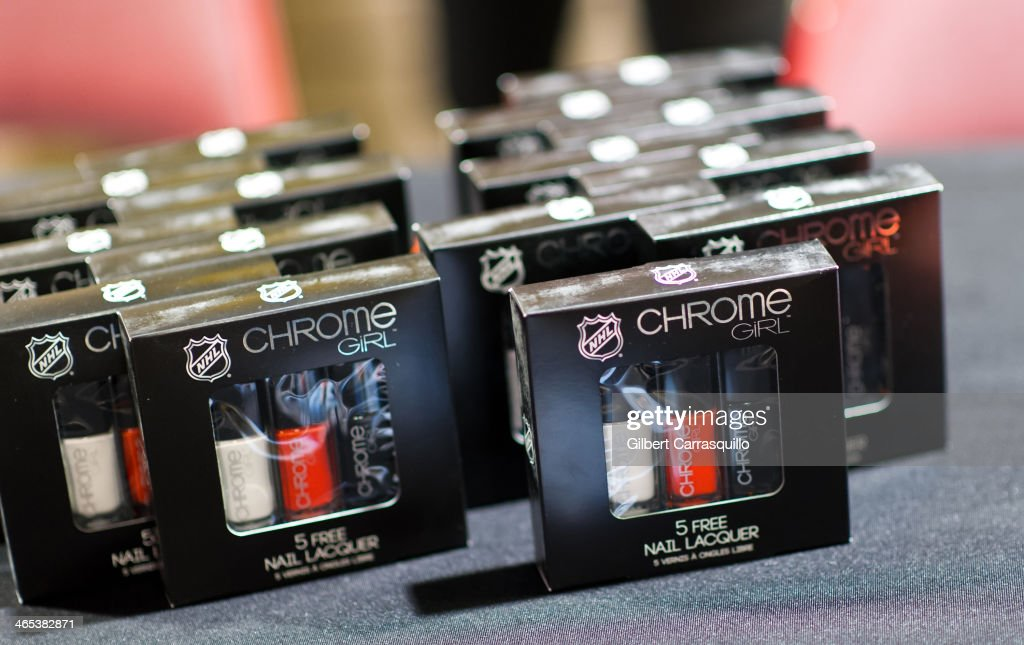 Chrome Girl NHL Philadelphia Flyers team colors nail laquer on display during the welcoming of celebrity co-chair David Boreanaz to the 37th Flyers Wives Carnival at Wells Fargo Center on January 26, 2014 in Philadelphia, Pennsylvania.