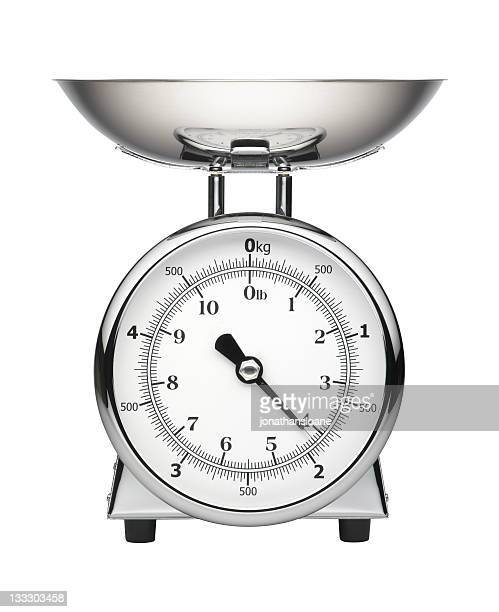 Chrome Kitchen scale isolated on white
