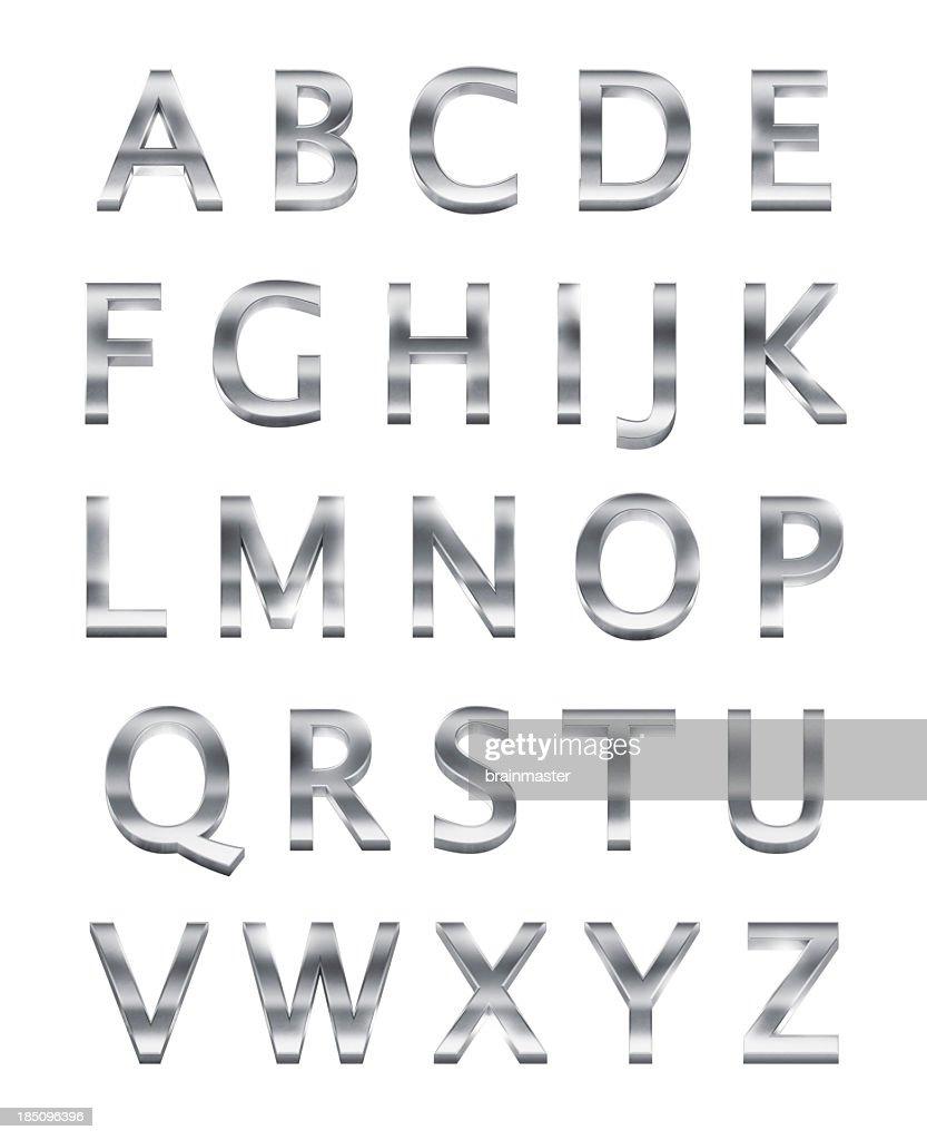 Chrome Metal Alphabet