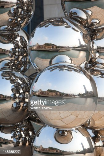 Chrome spheres at The Guggenheim Museum.