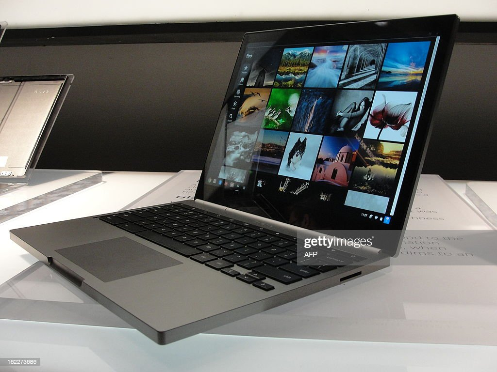 A Chromebook Pixel is on display on February 21, 2013 as Google unveiled in San Francisco the touch-screen notebook computer designed for high-end users. Google said its Chromebook Pixel computers blending tablet and laptop technology, boasting heavyweight Intel chips and screens tailored for rich graphics, were released in the United States and Britain.