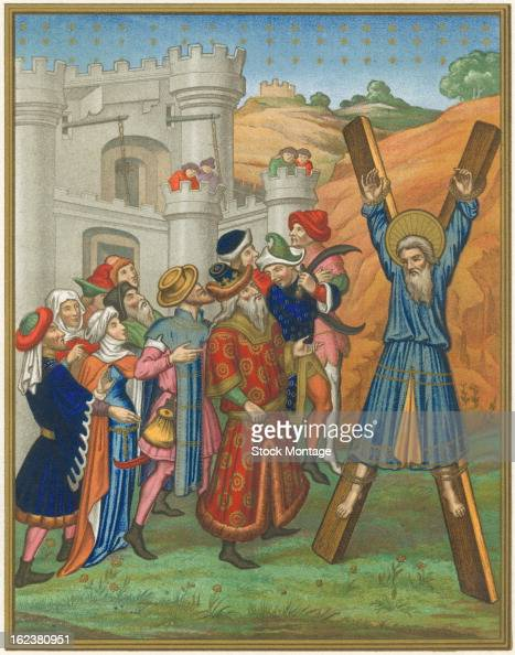 Chromolithograph Biblical illustration depicts the crucifixion of Saint Andrew one of the apostles of Christ Greece