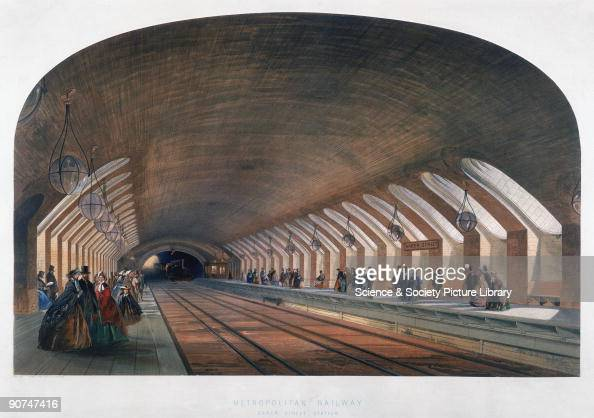 Chromolithograph by the Kell Brothers after their original drawing showing passengers waiting on platforms at Baker Street underground station A...