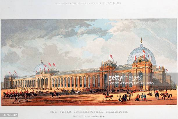 Chromolithograph by the Leighton Brothers showing the International Exhibition building in Cromwell Road London This building was designed by Captain...