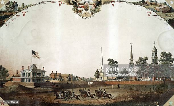 Chromolithograph depicting a group of men riding horses government buildings houses and church in the background titled 'View of public square...