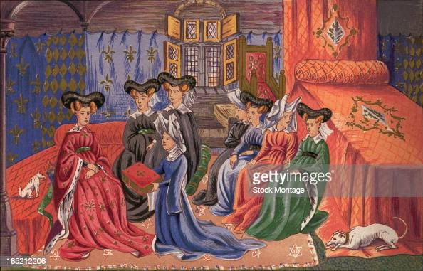 Chromolithograph depicts French poet and author Christine of Pisan presents a book of her writings to Isabella of Bavaria early to mid 1410s