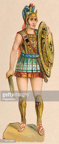 A chromolithograph of Achilles the mightiest of the Greek generals during the Trojan War and the hero of Homer's 'Iliad' printed circa 1900