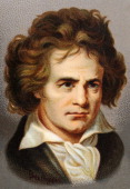 A chromolithograph of the composer Ludwig van Beethoven published in London circa 1880