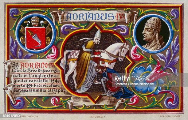 Chromolithograph postcard features Frederick I of Hohenstaufen and Barbarossa as he is crowned emperor of the Holy Roman Empire by Pope Adrian IV...