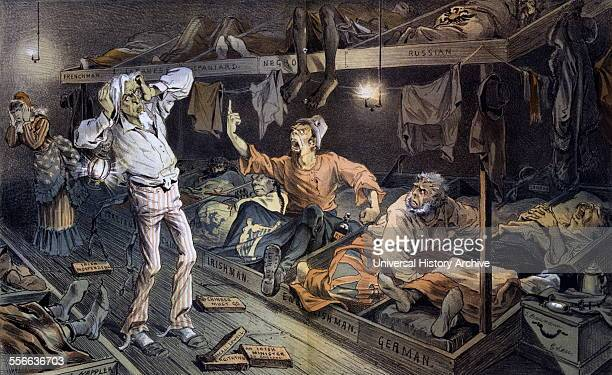 Chromolithograph print titled 'Uncle Sam's LodgingHouse' Print depicts an Irishman confronting Uncle Sam in a boarding house filled with labourers...