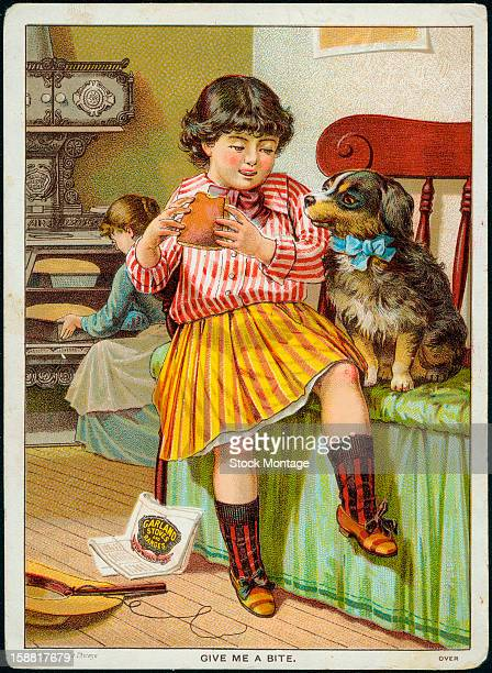 A chromolithograph trade card depicts a young girl as she holds food out of the reach of her very interested pet dog as a woman in the background...