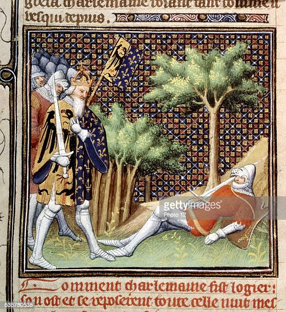 Chronicles of St Denis Miniature by Jean Fouquet Charlemagne discovering Knight Roland's remains at Ronceveaux 15th century France