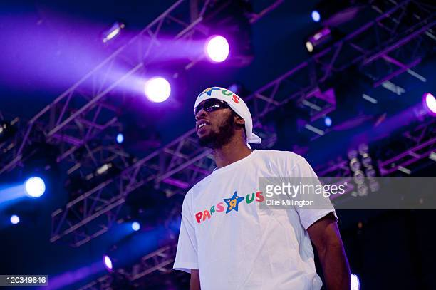 Chronik performs on the Metropolis stage with Tempa T during the second day at Global Gathering at Long Marston Airfield on July 30 2011 in...