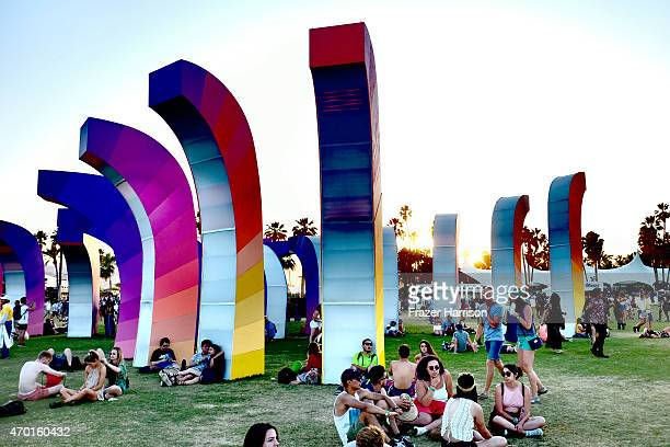 Chrono Chromatic art installation by Aphidoidea is seen during day 1 of the 2015 Coachella Valley Music And Arts Festival at The Empire Polo Club on...
