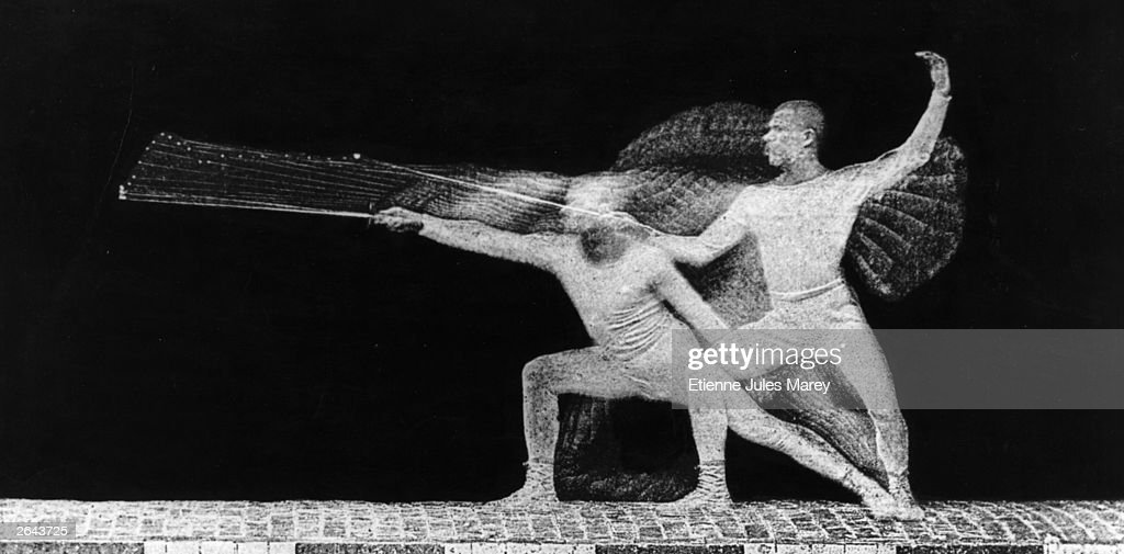 A chronophotograph of a fencer executing a sword thrust, photographed by Etienne Jules Marey (1830 - 1903) the French pioneer of scientific cinematography.