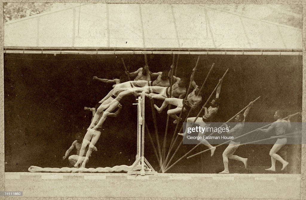 Chronophotographic study of a man as he pole vaults, early 1890s. The image features 11 exposures that show the man's body and pole position during each phase of the physical activity of pole vaulting.