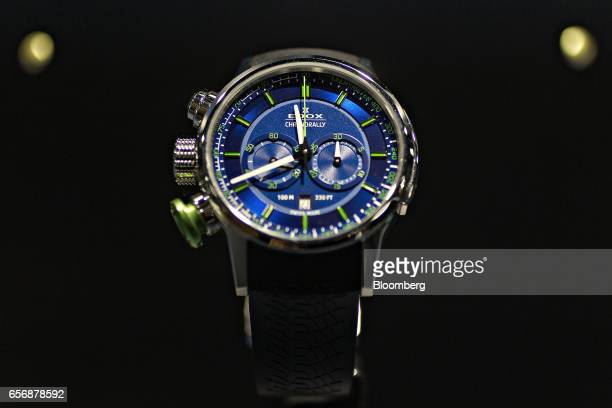 A Chronorally Limited Edition Sauber F1 Team model luxury wristwatch produced by Montres Edox Et Vista SA stands on display during the 2017...
