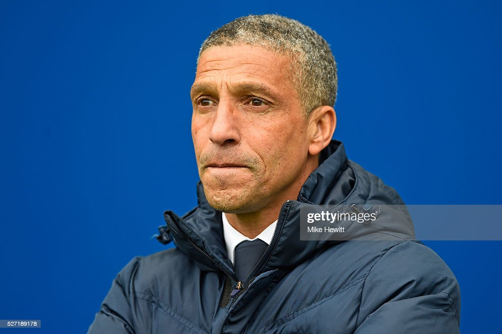 Chrs Hughton the manager of Brighton and Hove Albion looks on during the Sky Bet Championship match between Brighton and Hove Albion and Derby County at the Amex Stadium on May 2, 2016 in Brighton, United Kingdom.
