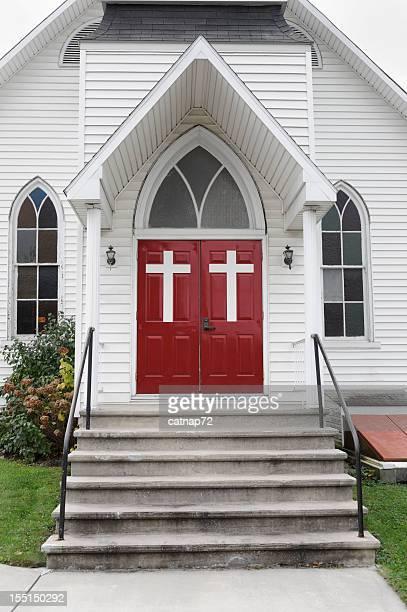 Chruch porte bianca con Croci, passaggi di ingresso