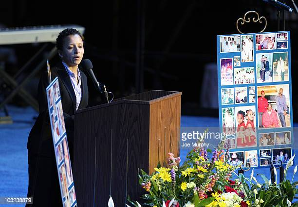 Chrysa Chin VP of player development of the NBA speaks during a memorial service honoring the life of Lorenzen Wright on August 4 2010 at FedExForum...
