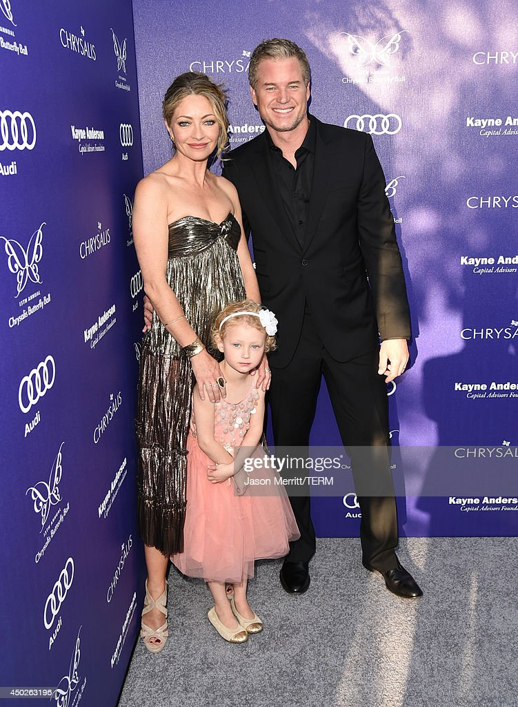 Chrysalis co-chair Rebecca Gayheart-Dane, actor Eric Dane, and daughter Billie Beatrice arrive at the 13th Annual Chrysalis Butterfly Ball in Los Angeles on June 7th, 2014.