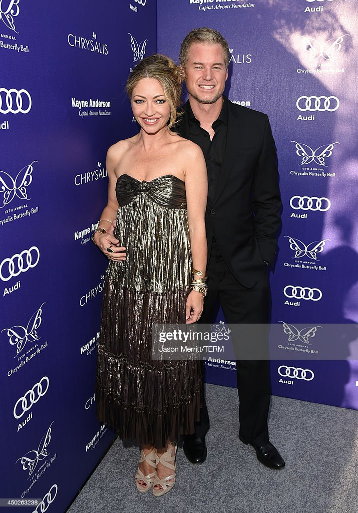 Chrysalis co-chair Rebecca Gayheart-Dane (L) and actor Eric Dane arrive at the 13th Annual Chrysalis Butterfly Ball in Los Angeles on June 7th, 2014.