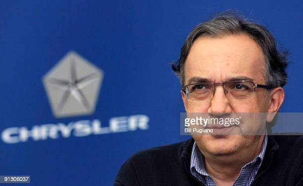 Chrysler CEO Sergio Marchionne attends a press conference at Chrysler headquarters October 1 2009 in Auburn Hills Michigan Also attending was Claudio...