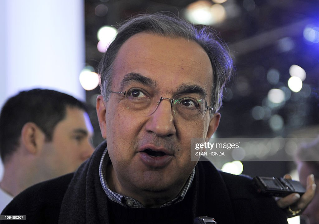 Chrysler CEO Sergio Marchionne gives interviews at the 2013 North American International Auto Show in Detroit, Michigan, January 14, 2013. AFP PHOTO/Stan HONDA
