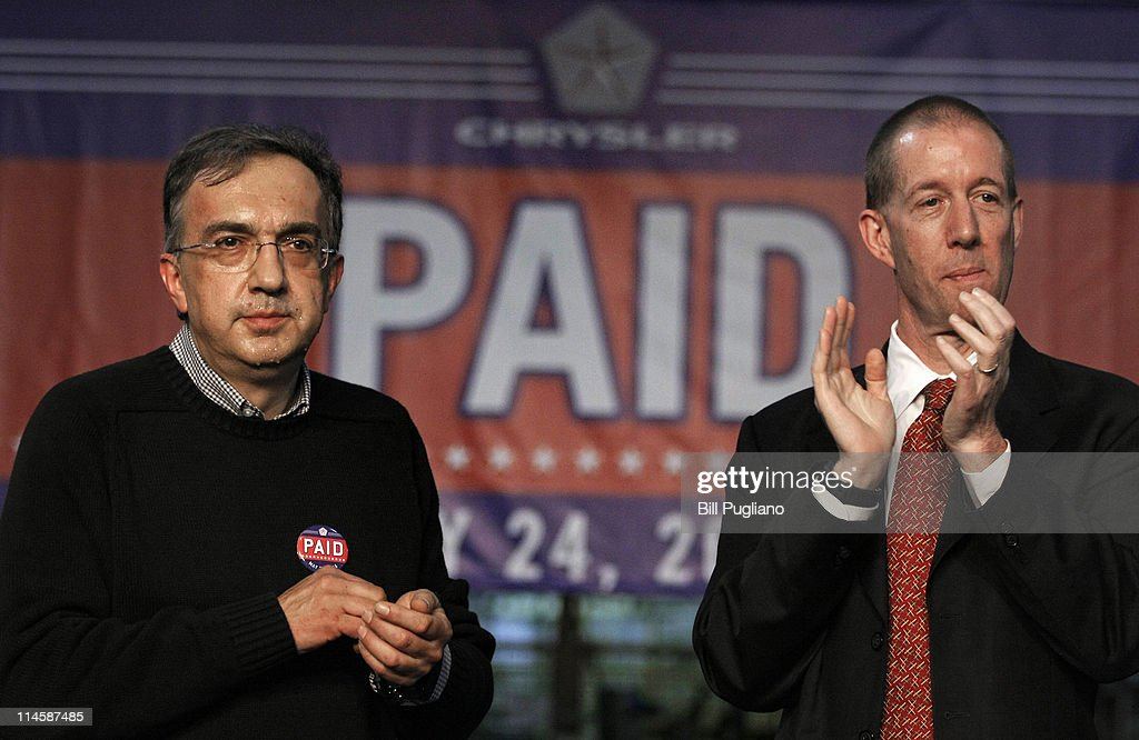 Chrysler Group and Fiat SpA CEO <a gi-track='captionPersonalityLinkClicked' href=/galleries/search?phrase=Sergio+Marchionne&family=editorial&specificpeople=608333 ng-click='$event.stopPropagation()'>Sergio Marchionne</a> and Ron Bloom (R), Assistant to President Barack Obama for Manufacturing Policy, celebrate the announcement of the repayment of the remaining $5.9 billion of Chrysler's $10.5 billion loan from the U.S. Government at the Sterling Heights Assembly Plant May 24, 2011 in Sterling Heights, Michigan. Chrysler Group is also retiring a $1.7 billion loan it received from the Canadian government.