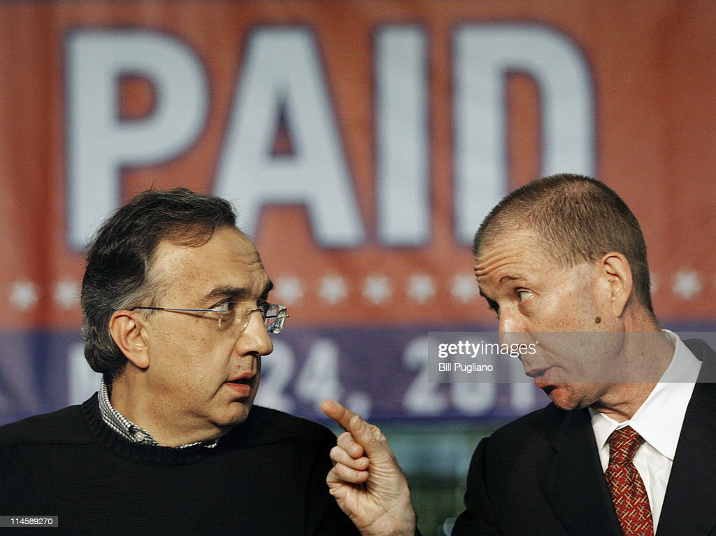 Chrysler Group and Fiat SpA CEO <a gi-track='captionPersonalityLinkClicked' href=/galleries/search?phrase=Sergio+Marchionne&family=editorial&specificpeople=608333 ng-click='$event.stopPropagation()'>Sergio Marchionne</a> and Ron Bloom (R), Assistant to President Barack Obama for Manufacturing Policy, speak before the announcement of the repayment of the remaining $5.9 billion of Chrysler's $10.5 billion loan from the U.S. Government at the Sterling Heights Assembly Plant May 24, 2011 in Sterling Heights, Michigan. Chrysler Group is also retiring a $1.7 billion loan it received from the Canadian government.