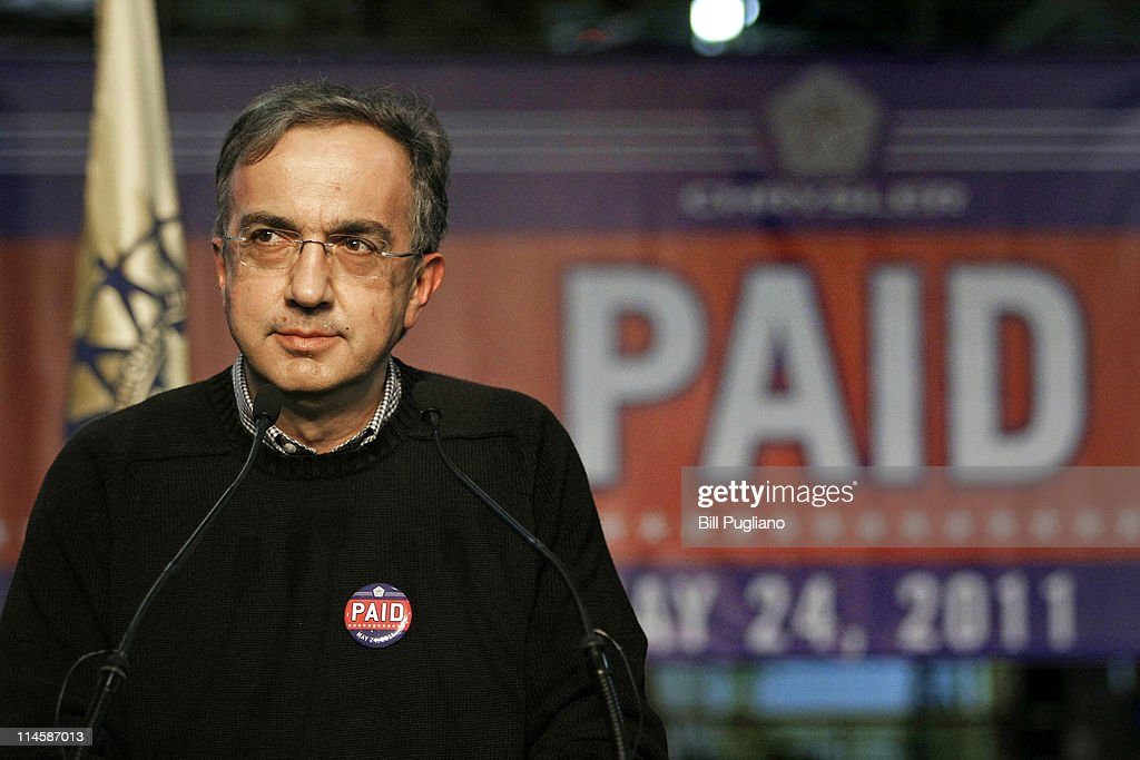 Chrysler Group and Fiat SpA CEO <a gi-track='captionPersonalityLinkClicked' href=/galleries/search?phrase=Sergio+Marchionne&family=editorial&specificpeople=608333 ng-click='$event.stopPropagation()'>Sergio Marchionne</a> announces the repayment of the remaining $5.9 billion of Chrysler's $10.5 billion loan from the U.S. Government at the Sterling Heights Assembly Plant May 24, 2011 in Sterling Heights, Michigan. Chrysler Group is also retiring a $1.7 billion loan it received from the Canadian government.