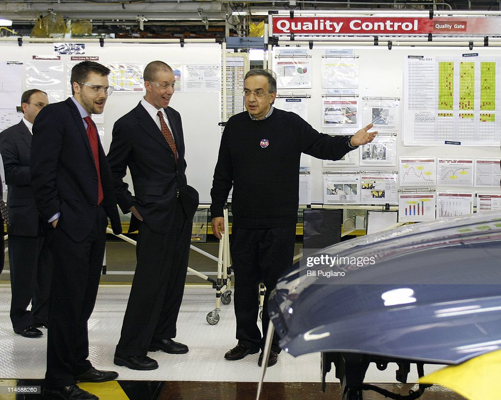 Chrysler Group and Fiat SpA CEO <a gi-track='captionPersonalityLinkClicked' href=/galleries/search?phrase=Sergio+Marchionne&family=editorial&specificpeople=608333 ng-click='$event.stopPropagation()'>Sergio Marchionne</a> (R) leads a tour with Ron Bloom (C) Assistant to President Barack Obama for Manufacturing Policy, before the announcement of the repayment of the remaining $5.9 billion of Chrysler's $10.5 billion loan from the U.S. Government at the Sterling Heights Assembly Plant May 24, 2011 in Sterling Heights, Michigan. Chrysler Group is also retiring a $1.7 billion loan it received from the Canadian government.