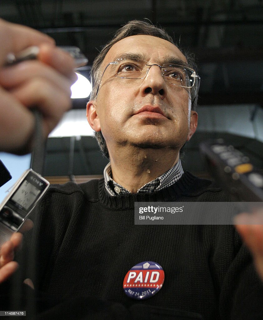 Chrysler Group and Fiat SpA CEO <a gi-track='captionPersonalityLinkClicked' href=/galleries/search?phrase=Sergio+Marchionne&family=editorial&specificpeople=608333 ng-click='$event.stopPropagation()'>Sergio Marchionne</a> speaks to reporters after announcing the repayment of the remaining $5.9 billion of Chrysler's $10.5 billion loan from the U.S. Government at the Sterling Heights Assembly Plant May 24, 2011 in Sterling Heights, Michigan. Chrysler Group is also retiring a $1.7 billion loan it received from the Canadian government.