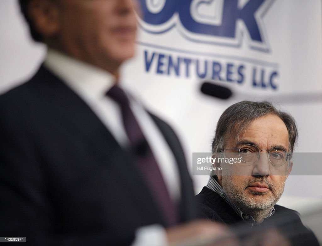 Chrysler Group Chairman and CEO Sergio Marchionne (R) and Rock Ventures and Quicken Loans Chairman Dan Gilbert attend an announcement that Chrysler will have an office presence in downtown Detroit for the first time April 30, 2012 in Detroit, Michigan.The Chrysler Group will be renaming the Rock Ventures Historic Dime Building the 'Chrysler House'.