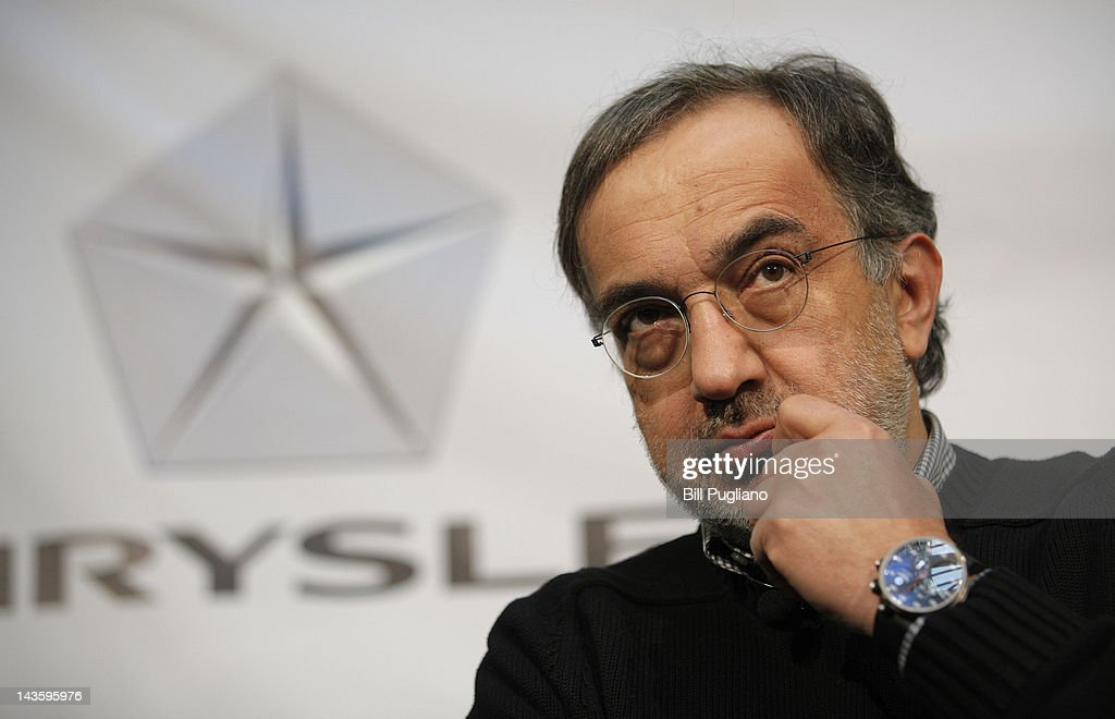 Chrysler Group Chairman and CEO <a gi-track='captionPersonalityLinkClicked' href=/galleries/search?phrase=Sergio+Marchionne&family=editorial&specificpeople=608333 ng-click='$event.stopPropagation()'>Sergio Marchionne</a> answers questions from the media after announced that Chrysler will have an office presence in downtown Detroit for the first time April 30, 2012 in Detroit, Michigan.The Chrysler Group will be renaming the Rock Ventures Historic Dime Building the 'Chrysler House'.
