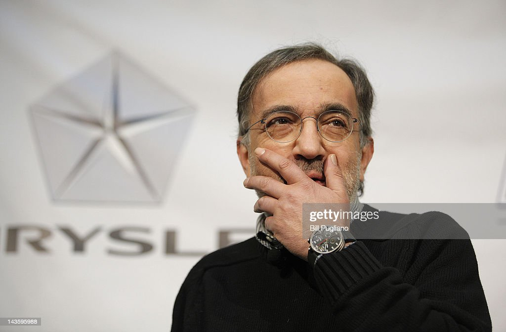 Chrysler Group Chairman and CEO Sergio Marchionne answers questions from the media after announced that Chrysler will have an office presence in downtown Detroit for the first time April 30, 2012 in Detroit, Michigan.The Chrysler Group will be renaming the Rock Ventures Historic Dime Building the 'Chrysler House'.