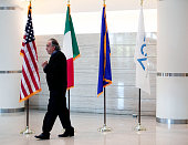 Chrysler Group Chairman and CEO Sergio Marchionne waits to welcome Italian Prime Minister Matteo Renzi to the Chrysler Group headquarters September...