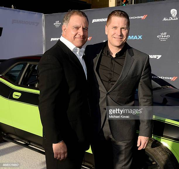 Chrysler Group's Walid Saba and President/CEO of Dodge Brand and SRT Brand Timothy Kuniskis attend the Furious 7 Los Angeles Premiere Sponsored by...