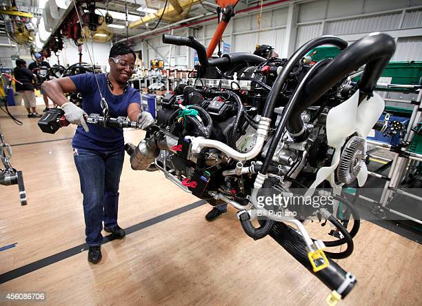Chrysler Ram 1500 truck goes through a qulity control check before coming off the assembly line at the Warren Truck Assembly Plant September 25 2014...