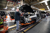 Chrysler Ram 1500 truck goes through the assembly line at the Warren Truck Assembly Plant September 25 2014 in Warren Michigan The plant redesigned...