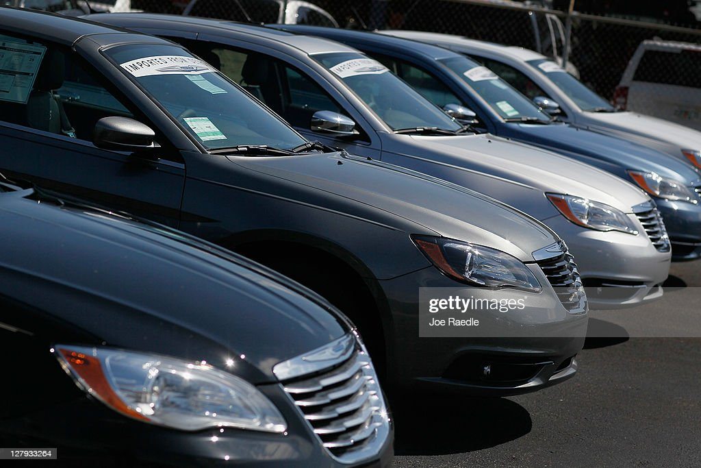 Chrysler vehicles are seen on the Hollywood Chrysler Jeep sales lot on October 3 2011 in Hollywood Florida Chrysler Group LLC reported that its US...