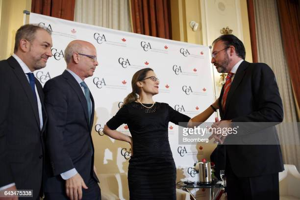 Chrystia Freeland Canada's minister of foreign affairs center speaks with Luis Videgaray Mexico's minister of foreign affairs right during the...