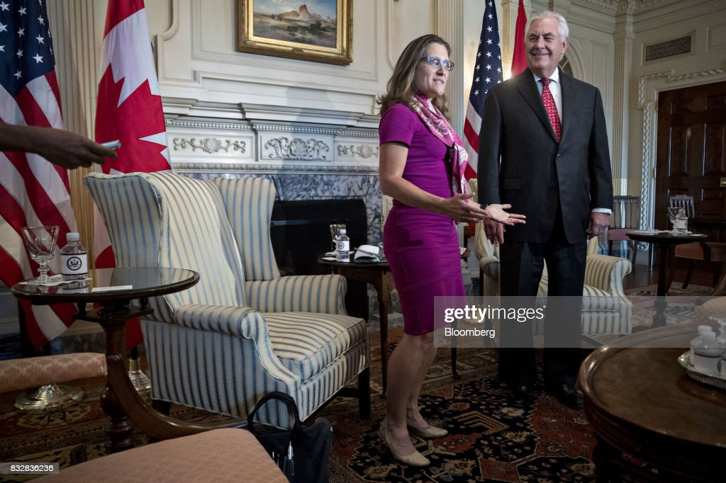Chrystia Freeland, Canada's minister of foreign affairs, left, speaks as Rex Tillerson, U.S. secretary of State, listens during a meeting at the State Department in Washington, D.C., U.S., on Wednesday, Aug. 16, 2017. Starting today the first round of North American Free Trade Agreement (NAFTA) renegotiations began with Canada and Mexico largely wanting to defend the advantages they have enjoyed under the two-decade-old Nafta deal, keep it free of tariffs and broaden it to new industries. President Donald Trump has called Nafta the worst trade pact in history and promised to fix it through negotiations or withdraw. Photographer: Andrew Harrer/Bloomberg via Getty Images