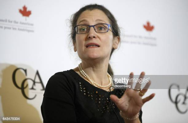 Chrystia Freeland Canada's minister of foreign affairs speaks during the Canadian Council for the America's New Strategies for a New North America...